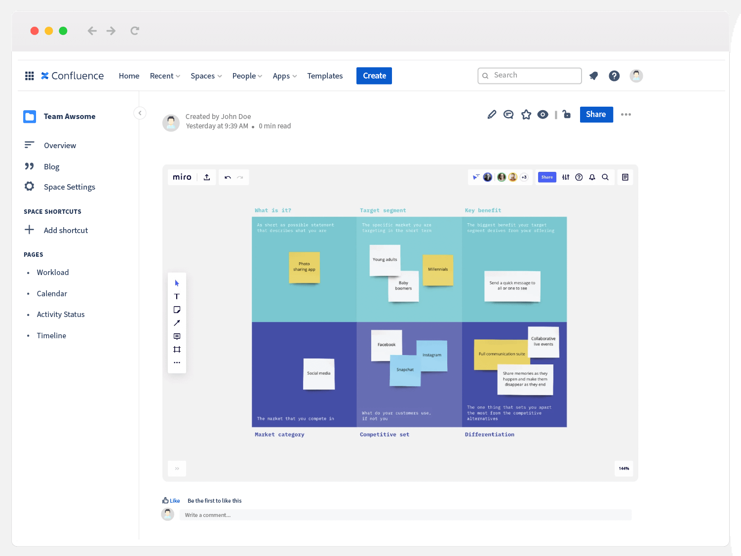 marketing teams often use product positioning templates like this one