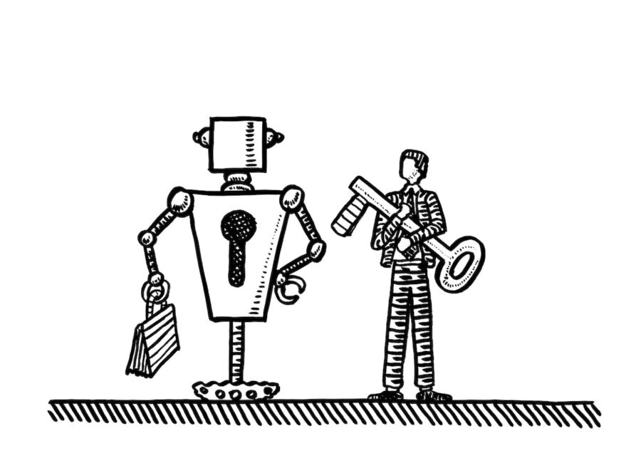 Freehand drawing of robot with keyhole in torso standing next to manager embracing a huge key. Technology metaphor for human computer interaction, HCI, security, secure access, control, interface.
