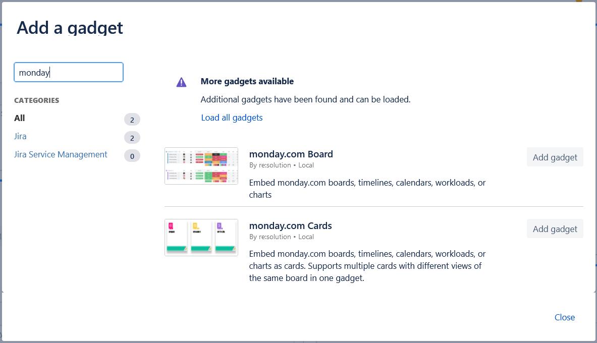 monday.com gadgets for Jira cloud