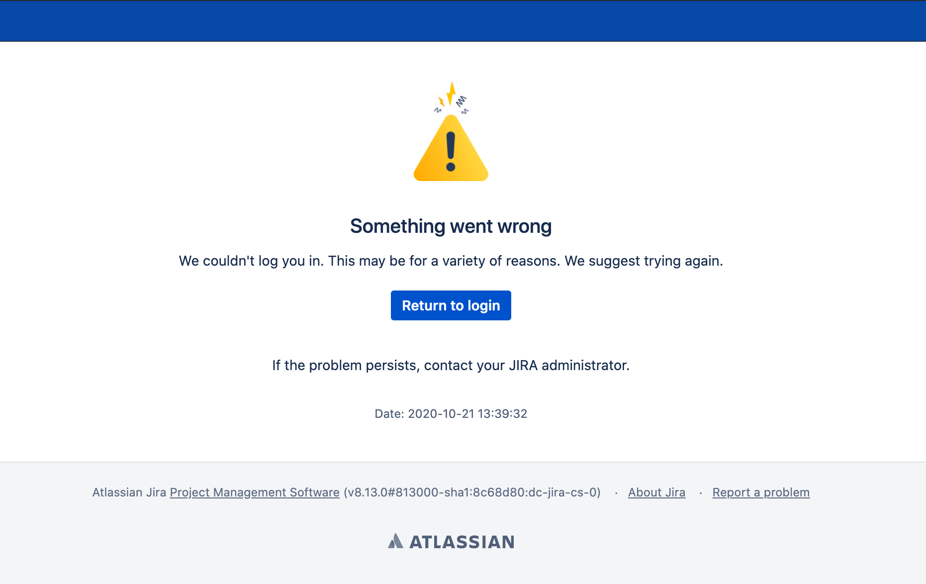 Data Center SSO login error page