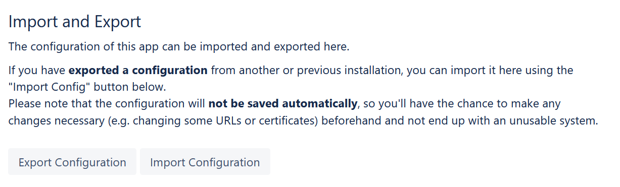 SAML SSO configuration import and export buttons