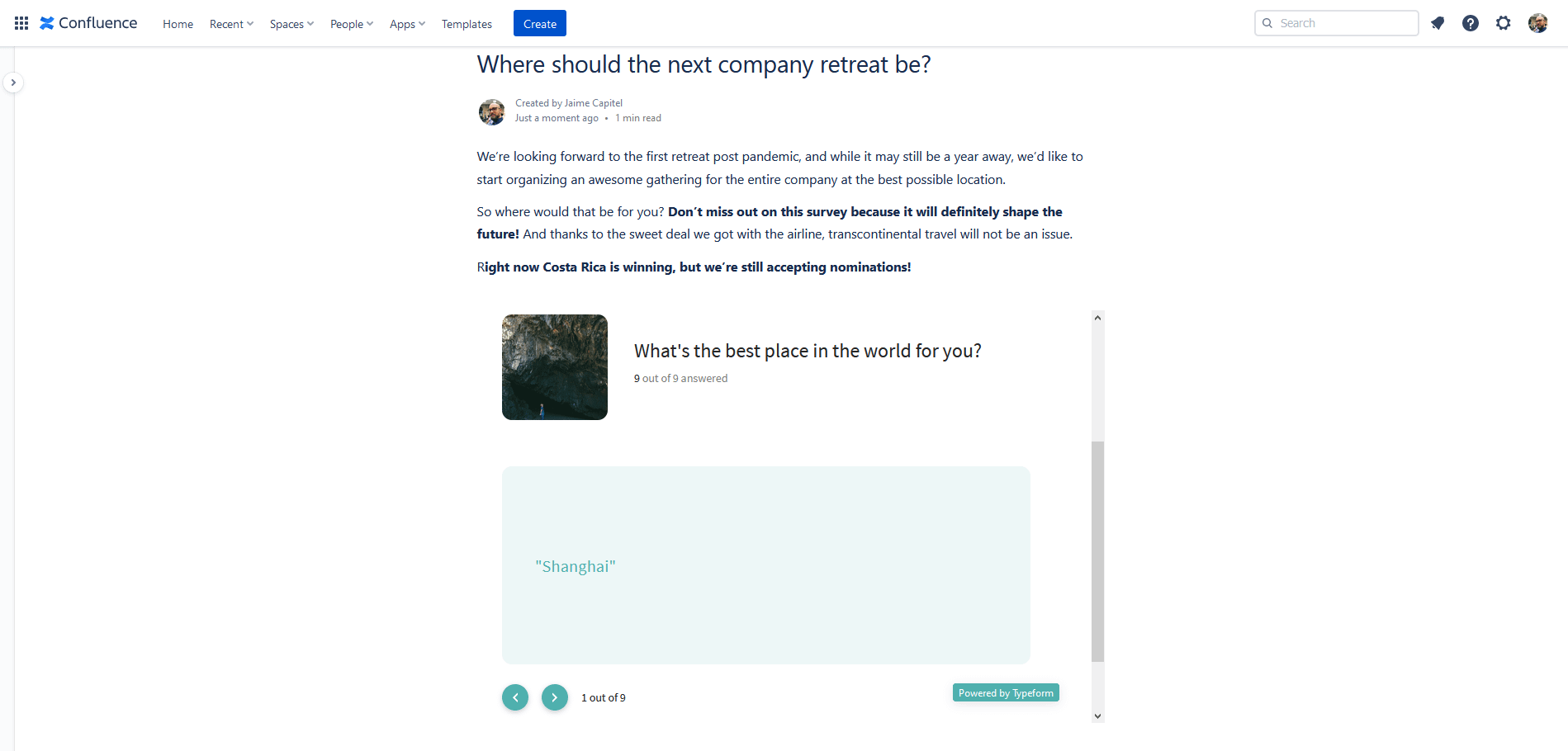 Typeform for Confluence: the best surveys in your wiki