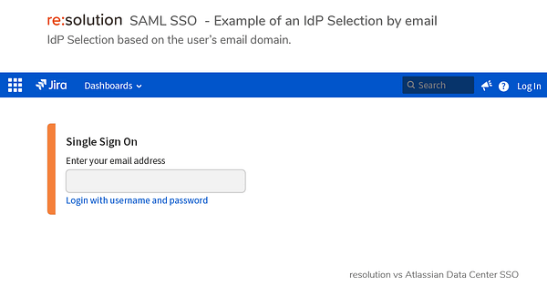 Example of an IdP Selection by Email
