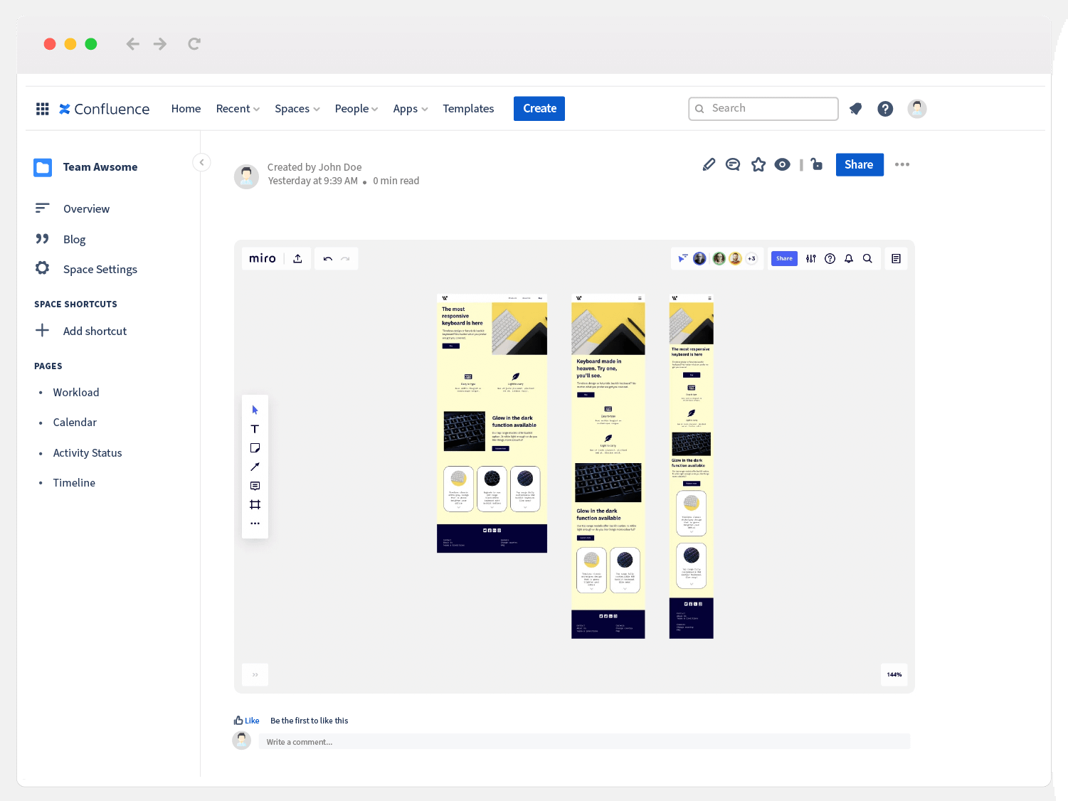 wireframing template with Miro