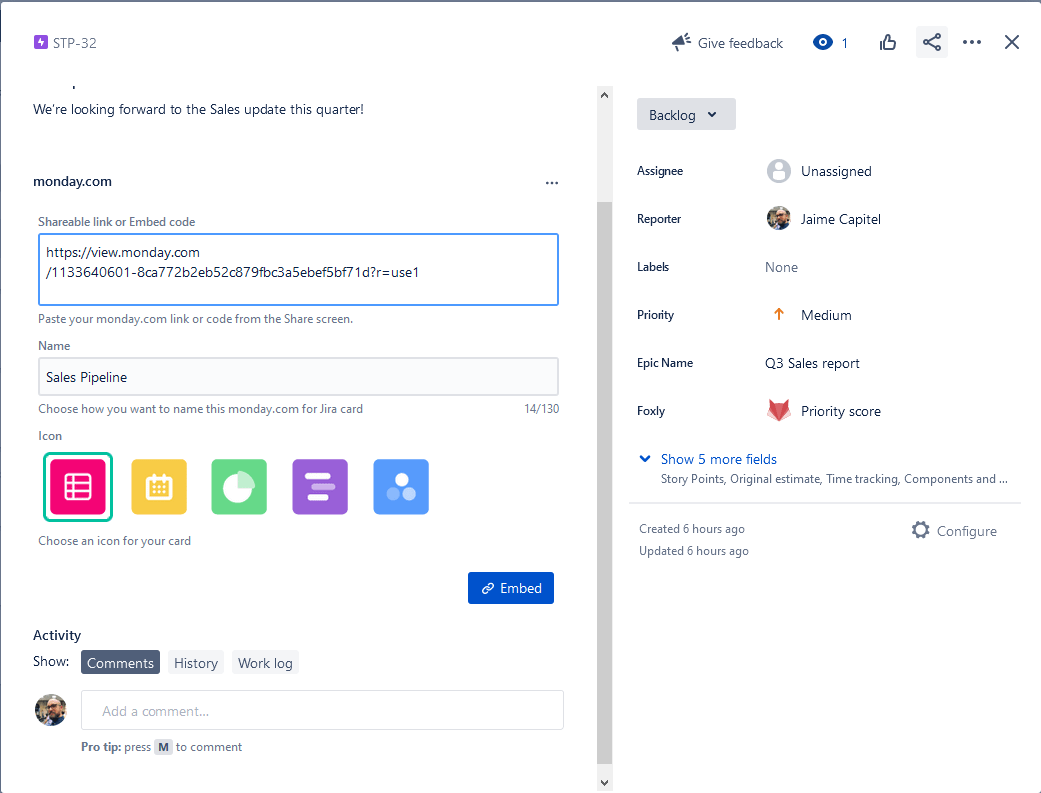 monday.com link in a Jira issue