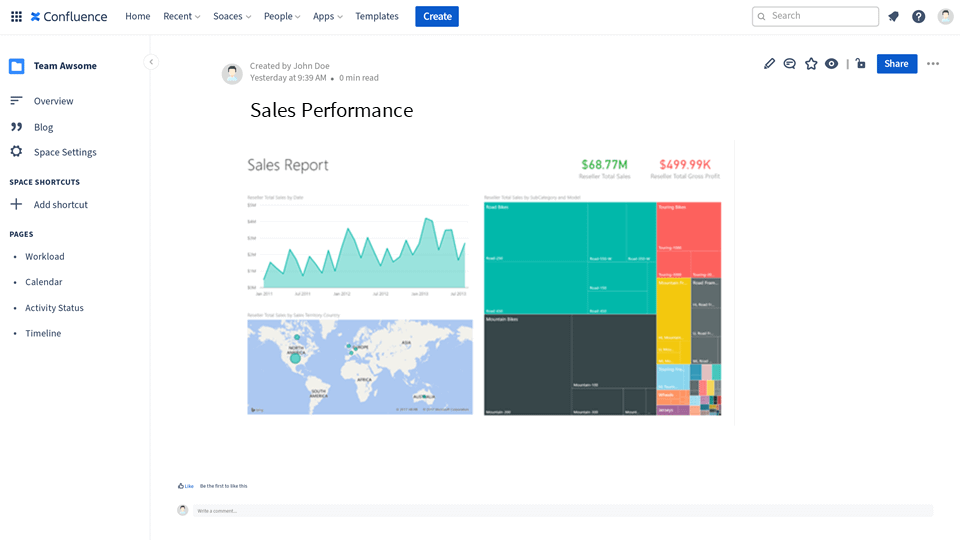 Sales Performance report in Power BI embedded in Confluence