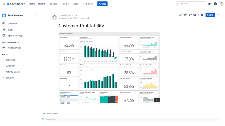 Live report with Power BI embedded in Confluence