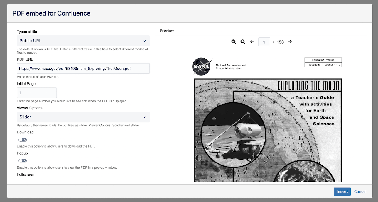 Embed pdf from URL in Confluence