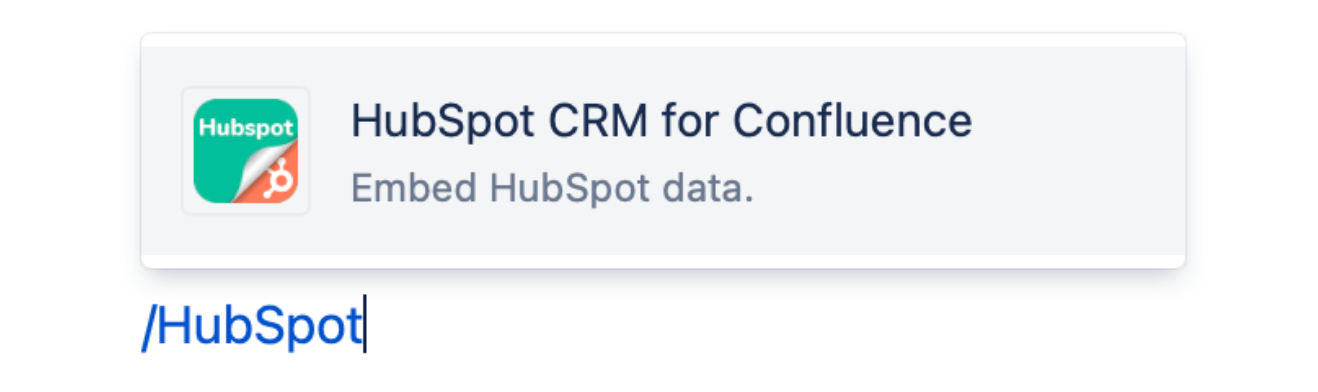 Hubspot CRM for Confluence macro