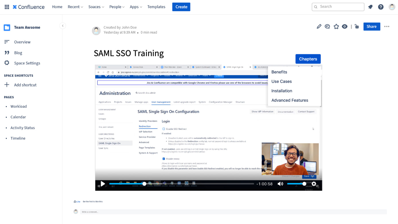 Look and feel of a Zoom Recording embedded in Confluence