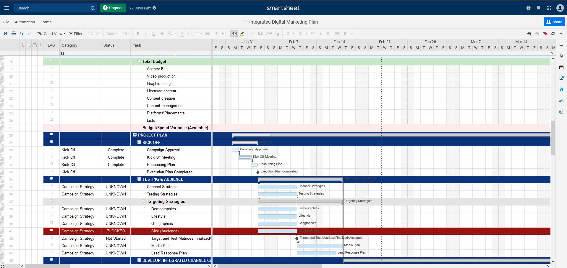 a classic smartsheet project
