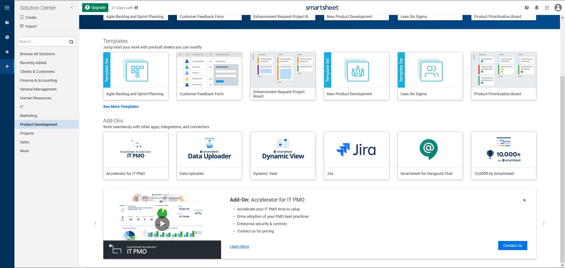 business process templates in Smartsheet