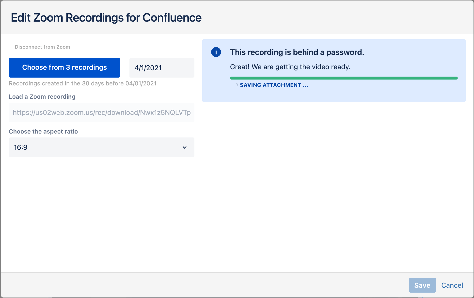 Attaching a password-protected Zoom recording in Confluence