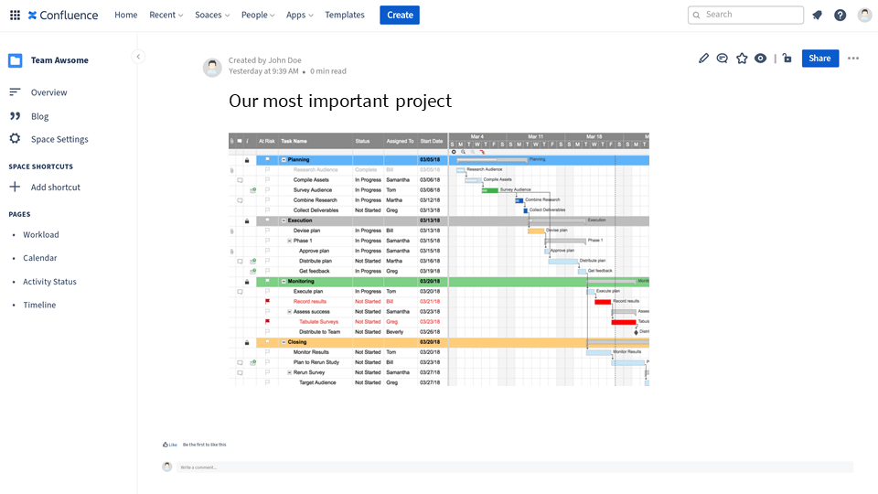 a waterfall Smartsheet project embedded in Confluence