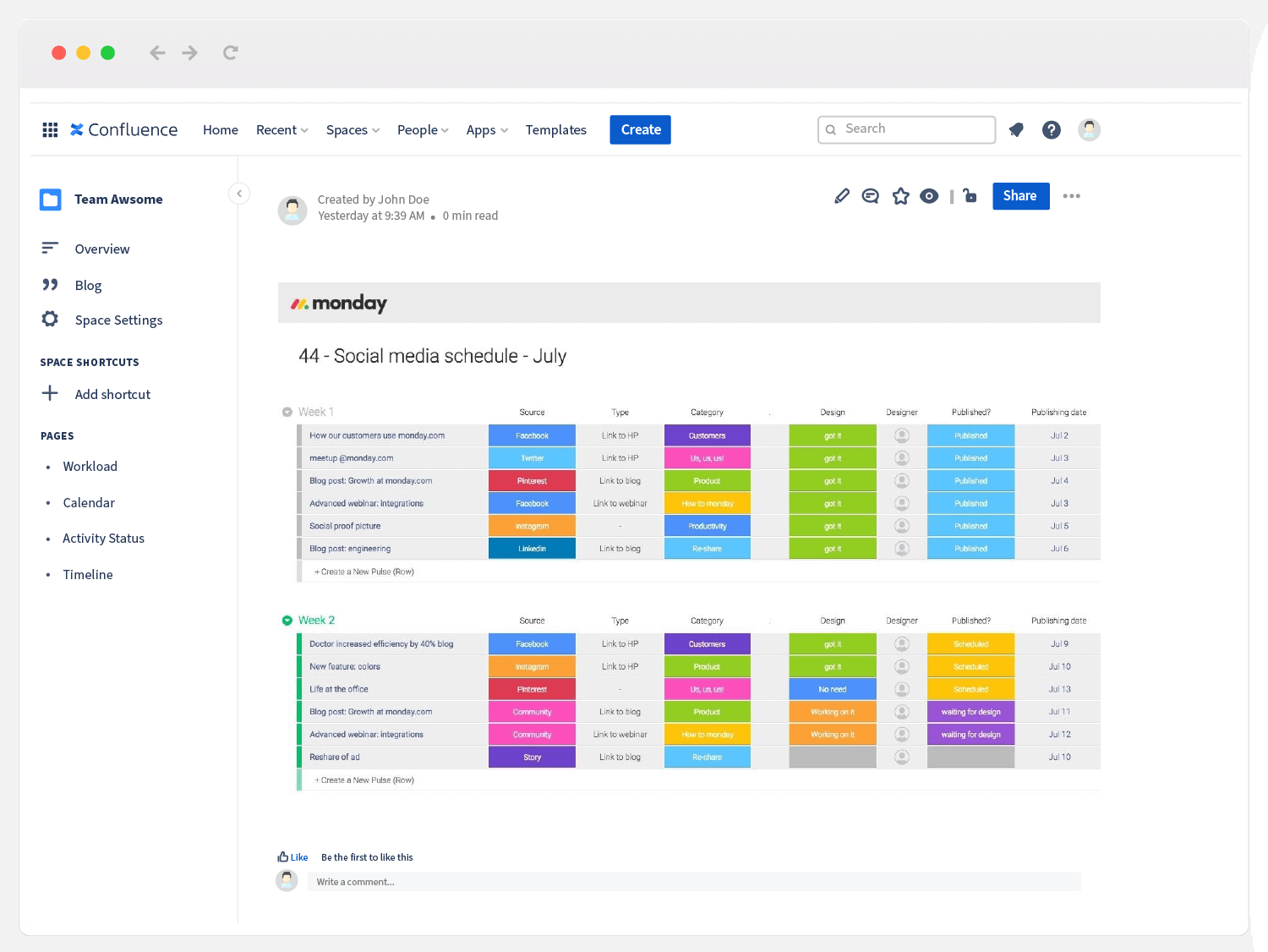 monday.com social media schedule embedded in Confluence
