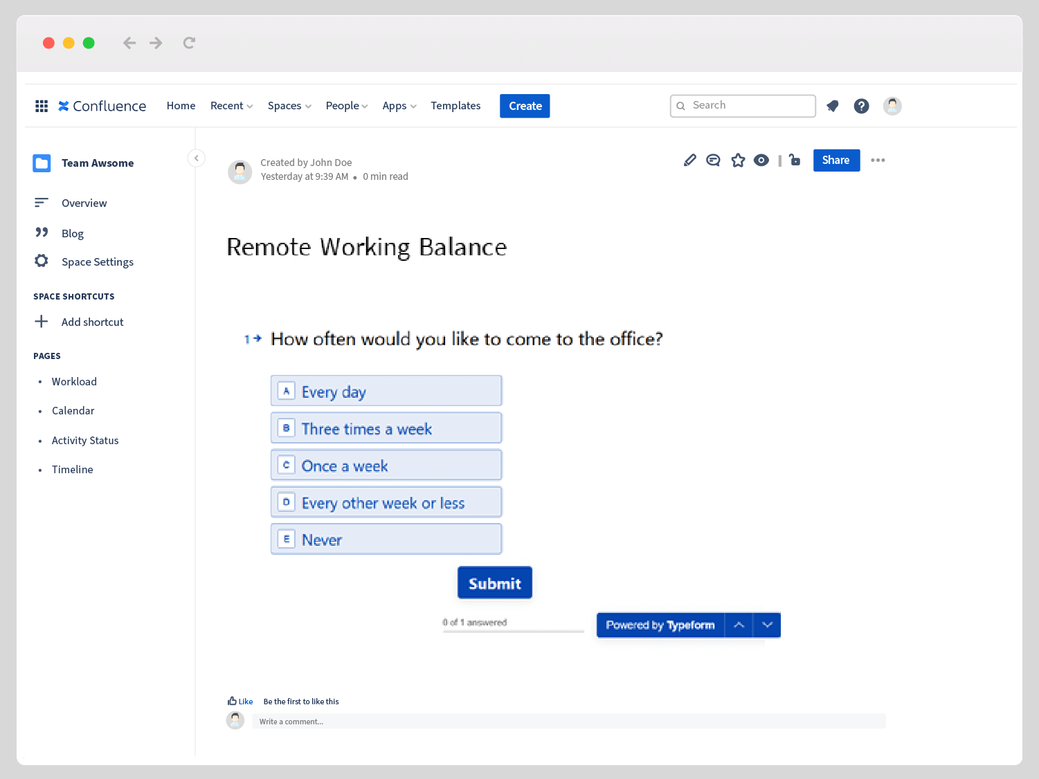 Employee survey in Typeform for Confluence