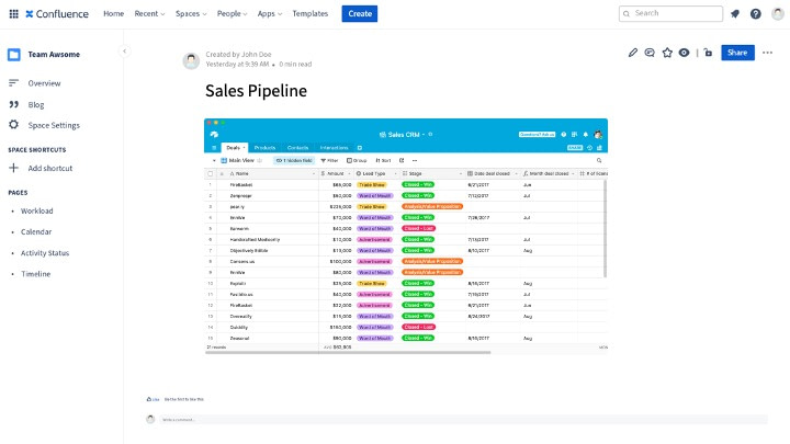 sales pipeline built in Airtable and embedded in Confluence