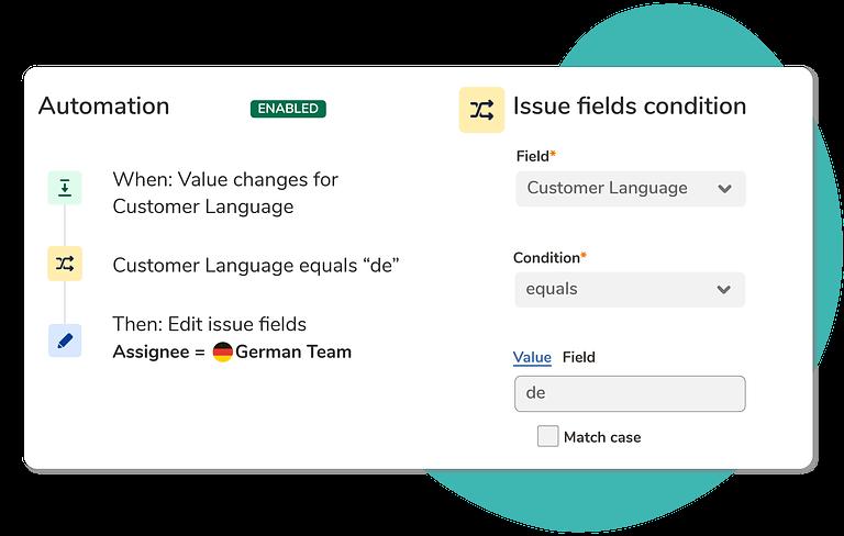 Add automation rules using the Customer Language custom field
