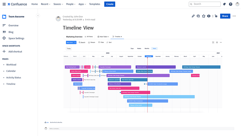 mondaycom timeline view embedded in Confluence