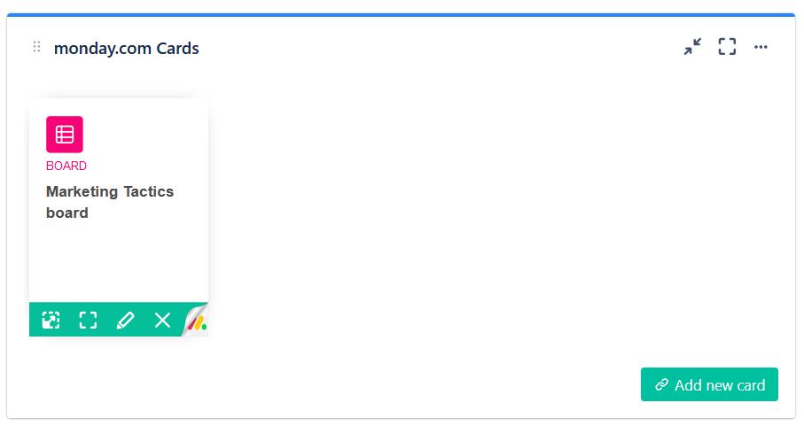 monday,com card gadget in a Jira cloud dashboard