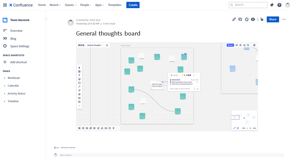 free navigation mode to collabote in miro from Confluence