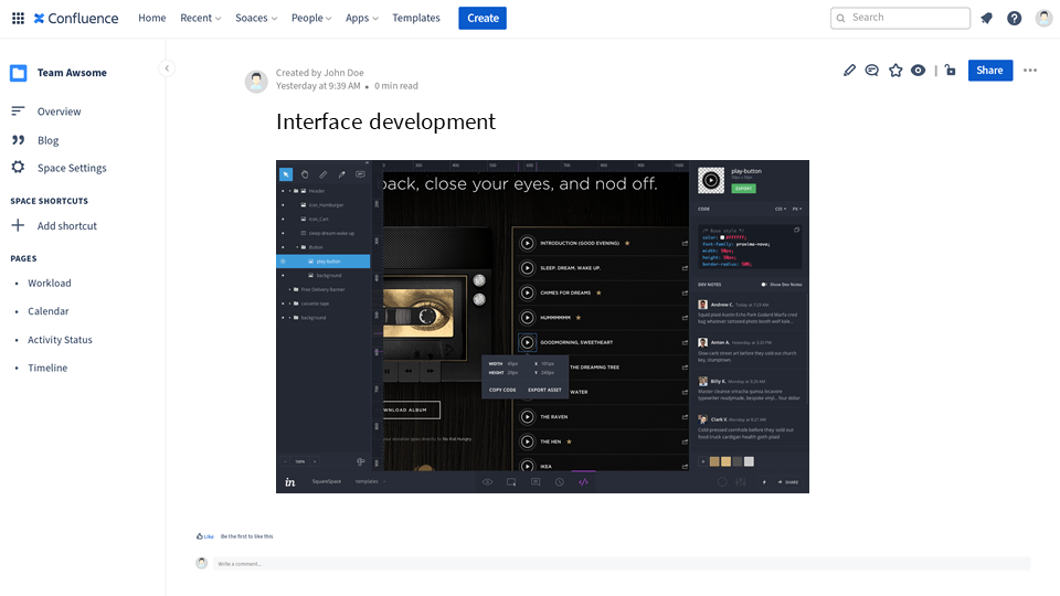 inspect mode of InVision embedded in Confluence